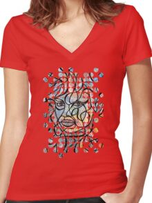 Staring Women's Fitted V-Neck T-Shirt