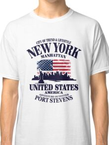 New York Skyline - USA Vintage Flag Classic T-Shirt