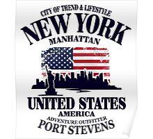 New York Skyline - USA Vintage Flag Poster