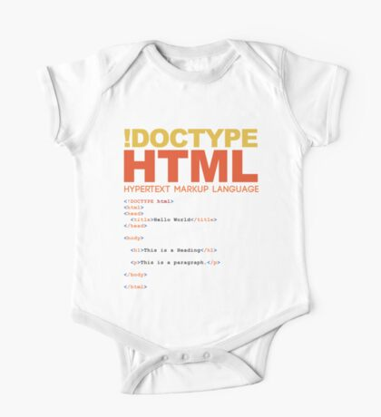 web design - HTML One Piece - Short Sleeve