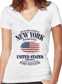 USA Flag - Vintage Look Women's Fitted V-Neck T-Shirt