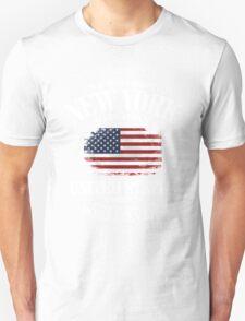 New York Skyline - USA Vintage Flag T-Shirt