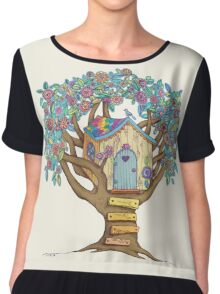 Live Simply, Love Trees Chiffon Top