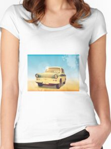 Retro car on beach Women's Fitted Scoop T-Shirt