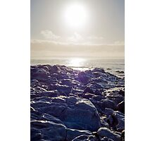waves over white sunset rocks Photographic Print
