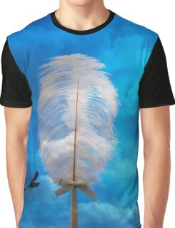 white feather and bird flying Graphic T-Shirt