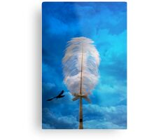 white feather and bird flying Metal Print