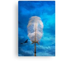 white feather and bird flying Canvas Print