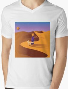 The little prince in the desert with fennec fox Mens V-Neck T-Shirt