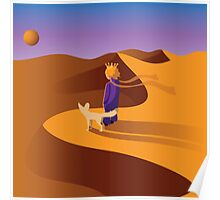 The little prince in the desert with fennec fox Poster