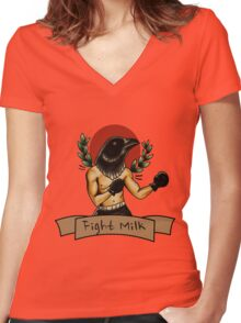fight milk  Women's Fitted V-Neck T-Shirt