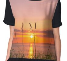 wild tall grass sunset Chiffon Top
