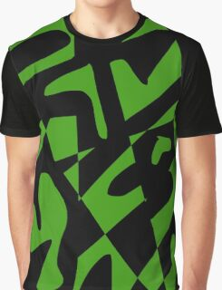 Green and Black Abstract Graphic T-Shirt