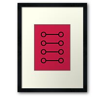 Simple Modern Buttons 8 Black on Ruby Red Framed Print