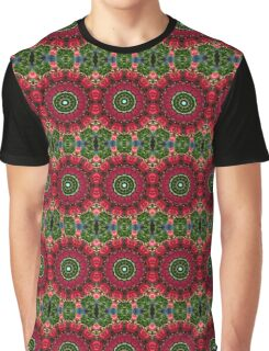 Happy Valentine's Day, Flower Mandala, Red blossoms with hearts Graphic T-Shirt