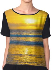 yellow sunset at beal beach Chiffon Top