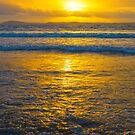 yellow sunset at beal beach by morrbyte