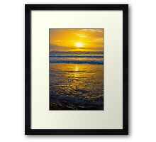 yellow sunset at beal beach Framed Print
