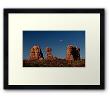 Moonrise Over Balanced Rock Framed Print