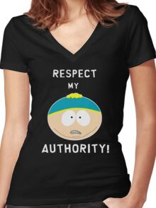 Cartman - Respect my authority Women's Fitted V-Neck T-Shirt