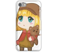 Sad chibi girl with bear iPhone Case/Skin