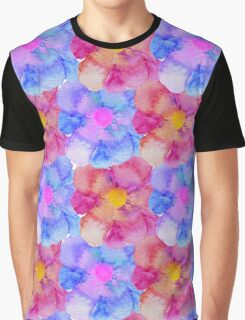Artsy Pink Blue and Purple Watercolor Flowers Graphic T-Shirt