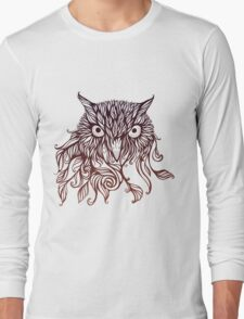 owl in graphical floral style Long Sleeve T-Shirt