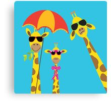 The Fun Giraffe Family Canvas Print