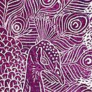 Peacock Linocut in Purple by Adam Regester
