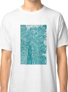 Peacock Linocut in Teal Classic T-Shirt