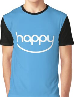 Happy (01 - White on Blue) Graphic T-Shirt