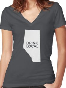 Alberta Drink Local AB Women's Fitted V-Neck T-Shirt