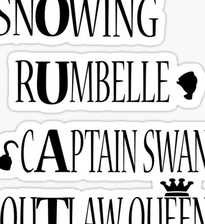 OUAT Ships (Black Text) Sticker