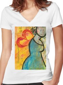 Winged Blue Women's Fitted V-Neck T-Shirt