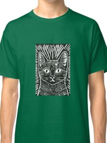 Cat Portrait Lino Print Classic T-Shirt