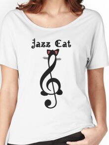 The Jazz Cat (w/text) Women's Relaxed Fit T-Shirt