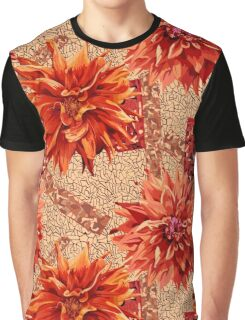 seamless pattern of georgina flowers with abstract background Graphic T-Shirt