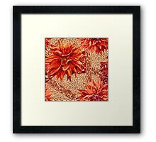 seamless pattern of georgina flowers with abstract background Framed Print