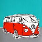 VW Camper Van ( Red )  by Adam Regester