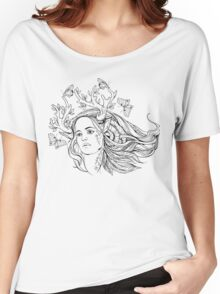 portrait of a woman with animal horns and butterflies. black and white Women's Relaxed Fit T-Shirt