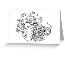 portrait of a woman with animal horns and butterflies. black and white Greeting Card