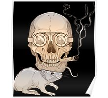 a skull with fuming cigar and a rat Poster