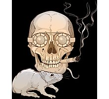 a skull with fuming cigar and a rat Photographic Print