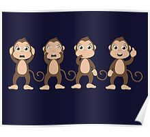 Four wise monkeys Poster