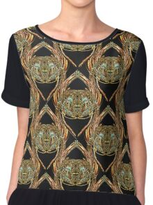 Golden Scarab Abstract Pattern in gold, black and sky blue Chiffon Top