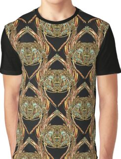 Golden Scarab Abstract Pattern in gold, black and sky blue Graphic T-Shirt