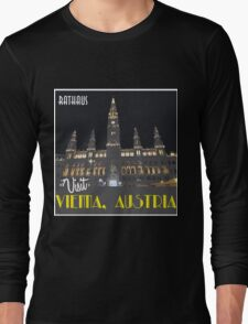 Vienna Rathaus Vintage Travel Poster Long Sleeve T-Shirt