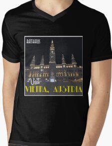 Vienna Rathaus Vintage Travel Poster Mens V-Neck T-Shirt