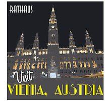 Vienna Rathaus Vintage Travel Poster Photographic Print