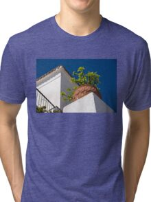 Contemplating Mediterranean Vacations - Red Tile Roofs and Terracotta Flowerpots Tri-blend T-Shirt